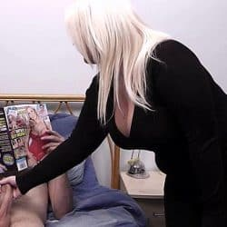 Hottest blonde BBW helps him cum