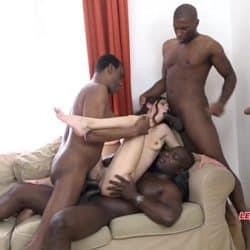 Mega interracial Gangbang – Arwen Gold versus 4 huge black cocks