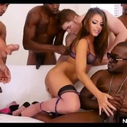 Interracial DOUBLE anal gangbang with Adriana Chechik