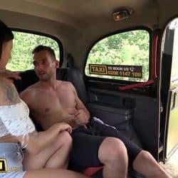 Female Fake Taxi Billie Star fucking a Dutch guy who has a bendy banana cock