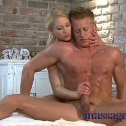 Massage Rooms Horny Blonde has squirting good time with muscular guy