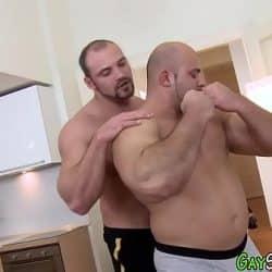 Muscle bear gets facial