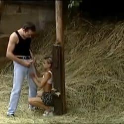 Vintage taboo teen fucked outside in a barn, farmer's little secret